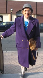 Lady purple coat