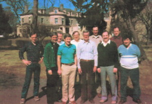 First Men's Breakfast November 1987 Front row l-r Charlie Beelitz, Father Lew Papera, Homer Brawley*, Walter Krako,Bob Montague, Ross Cannone Back Row l-r Jim McFadden*, Lou Brigando, Tom Bell, Gene Mauer* *deceased